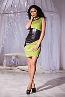 Стильное оливковое замшевое платье с чёрной вставкой кожи. Арт-5737/57