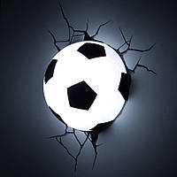 Светильник футбольный мяч 3D в стене, ночник футбольный мяч 3D в стене, Світильник нічник футбольний м'яч