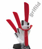 Набор керамических ножей 5 в 1 с подставкой Black/Red/Orange/Green, керамические кухонные ножи набор
