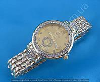 Часы Omega 114063 женские золотистые на плетеном металлическом браслете в стразах