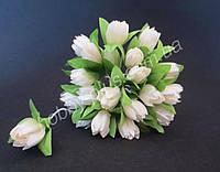 Тюльпан на проволочке, d 2 см, белого цвета