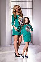 Модное зелёное платье с принтом и карманами, бантик на спине. Арт-5739/57
