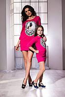 Модное малиновое платье с принтом и карманами, бантик на спине. Арт-5739/57