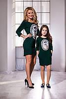 Модное тёмно зелёное платье с принтом и карманами, бантик на спине. Арт-5739/57