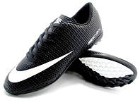 Детские футбольные сороконожки Nike Mercurial Victory Turf Black/White, фото 1