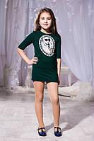 Детское тёмно зелёное платье с принтом и кармашиками. Арт-5740/57