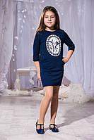 Детское тёмно синее платье с принтом и кармашиками. Арт-5740/57