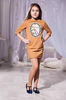Детское светло коричневое платье с принтом и кармашиками. Арт-5740/57