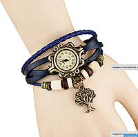 Женские кварцевые наручные часы-браслет в ретро-стиле с подвеской Дерево, цвет - синий