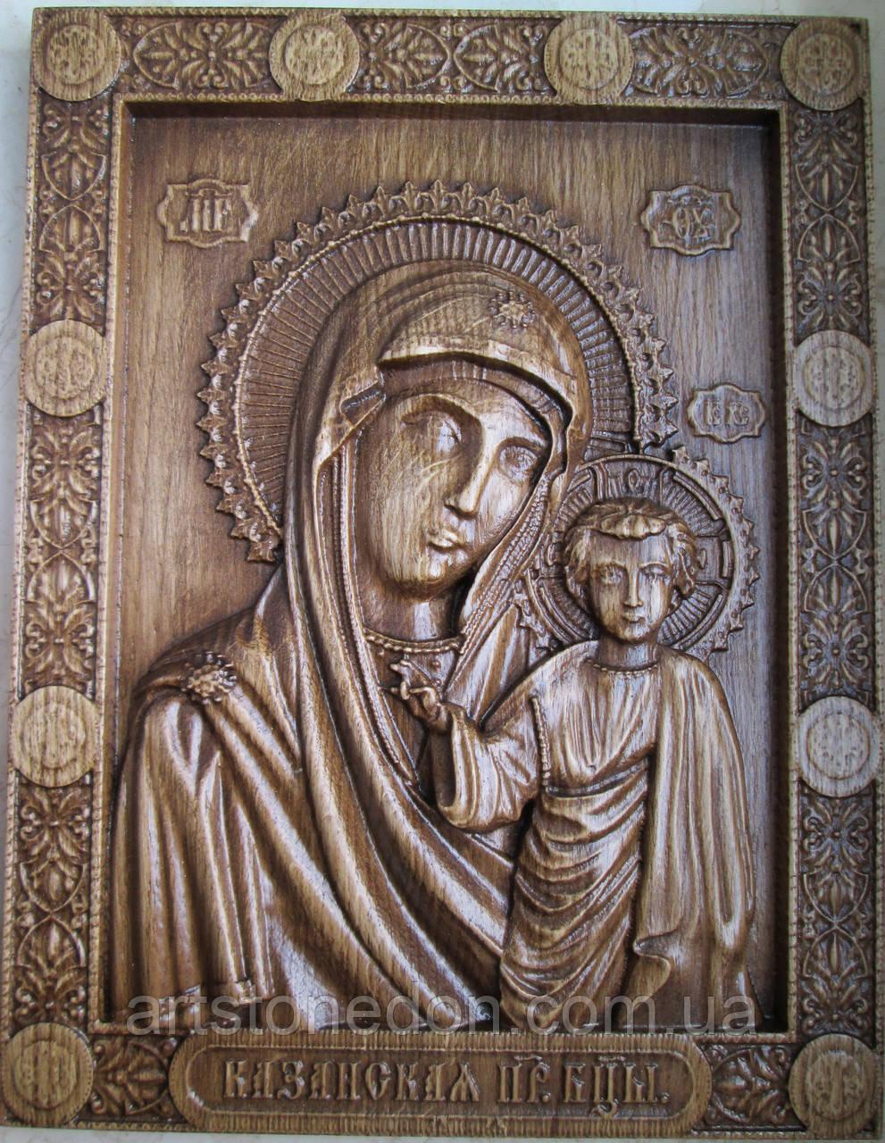 Иконы резные из дерева. Казанская икона Божьей Матери