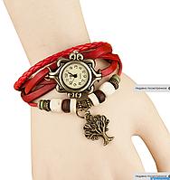 Женские кварцевые наручные часы-браслет в ретро-стиле с подвеской Дерево, цвет - красный