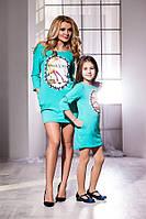 Модное бирюзовое платье с принтом и карманами, бантик на спине, батал. Арт-5741/57