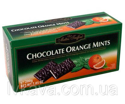 Черный шоколад  Chocolade Orange Mints  Maitre Truffout  , 200 гр