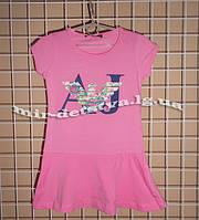 """Брэндовые трикотажные платья для девочек """"Армани"""" ТМ Wanex, Турция р.92,98,110 см, розовый"""