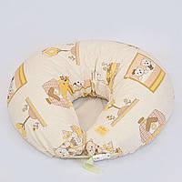 Подушка для кормления, бязь. Мишки в домике, коричневые