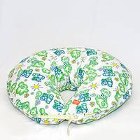 Подушка фланель. Зеленый слон