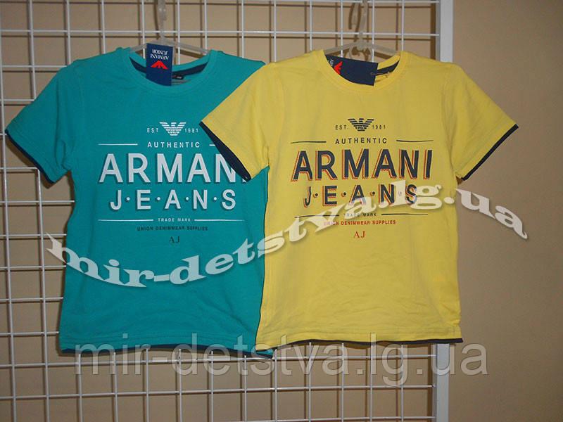 """Брэндовые футболки для мальчиков """"Армани-2"""" ТМ Wanex, Турция р.104-128см ( желтый)"""