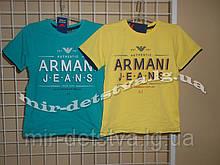 """Брендові футболки для хлопчиків """"Армані-2"""" ТМ Wanex, Туреччина р. 104-128см ( жовтий)"""