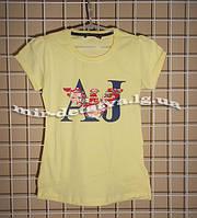 """Подростковые футболки для девочек """"Армани"""" ТМ Wanex, Турция р.122-164см, желтый"""