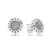 Серьги-пусеты из серебра с логотипом Pandora с кубическим цирконием, 290559CZ