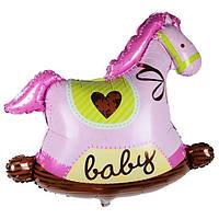 Фольгированный воздушный шарик Лошадка - качалка розовая 44 х 49 см.