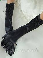 Перчатки черного цвета с драпировкой