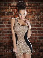 Платье леопардовой расцветки с черными вставками