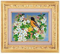 Схема для частичной вышивки бисером «Птичка в цветах» ВШ,248х305,Габардин,Арт.ЧБ-32 /00-02