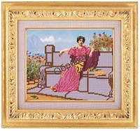 Схема для частичной вышивки бисером «Девушка в саду» ВШ,248х305,Габардин,Арт.ЧБ-45 /00-02