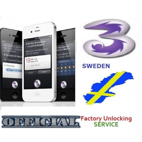 Unlock iPhone 4 4S 5 5S 5C 6 6+ 6S 6S+ SE 7 7+ Hutchison 3 Sweden