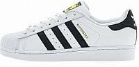 """Кроссовки мужские кожаные Adidas Superstar Wtite\Black """"Белые с черными полосками"""" 44"""