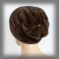 """Женская шапка из меха норки светло-коричневая """" Веер """""""