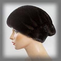 """Женская шапка из меха норки тёмно-коричневая """" Веер """", фото 1"""