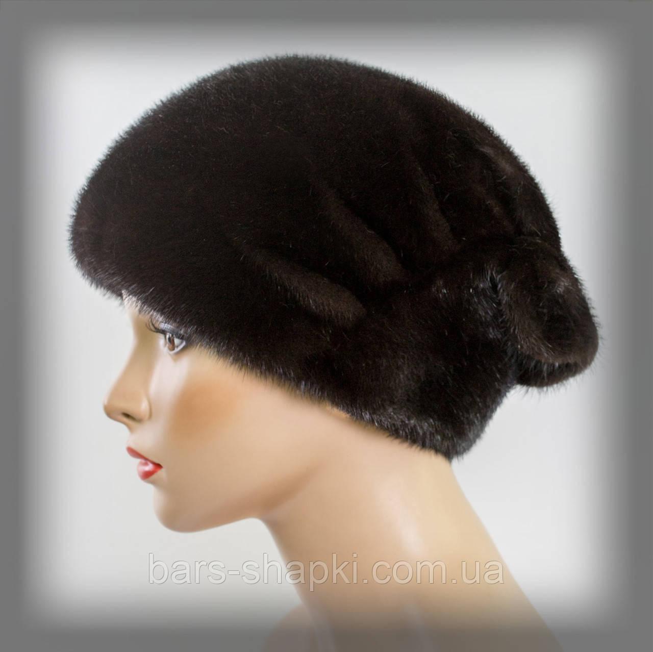 """Женская шапка из меха норки тёмно-коричневая """" Веер """""""
