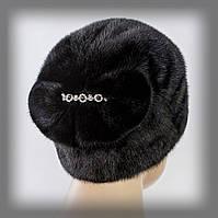 """Женская шапка из меха норки  """" Веер """" (черная)"""