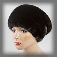 Женская меховая шапка из норки  (коричневая), фото 1