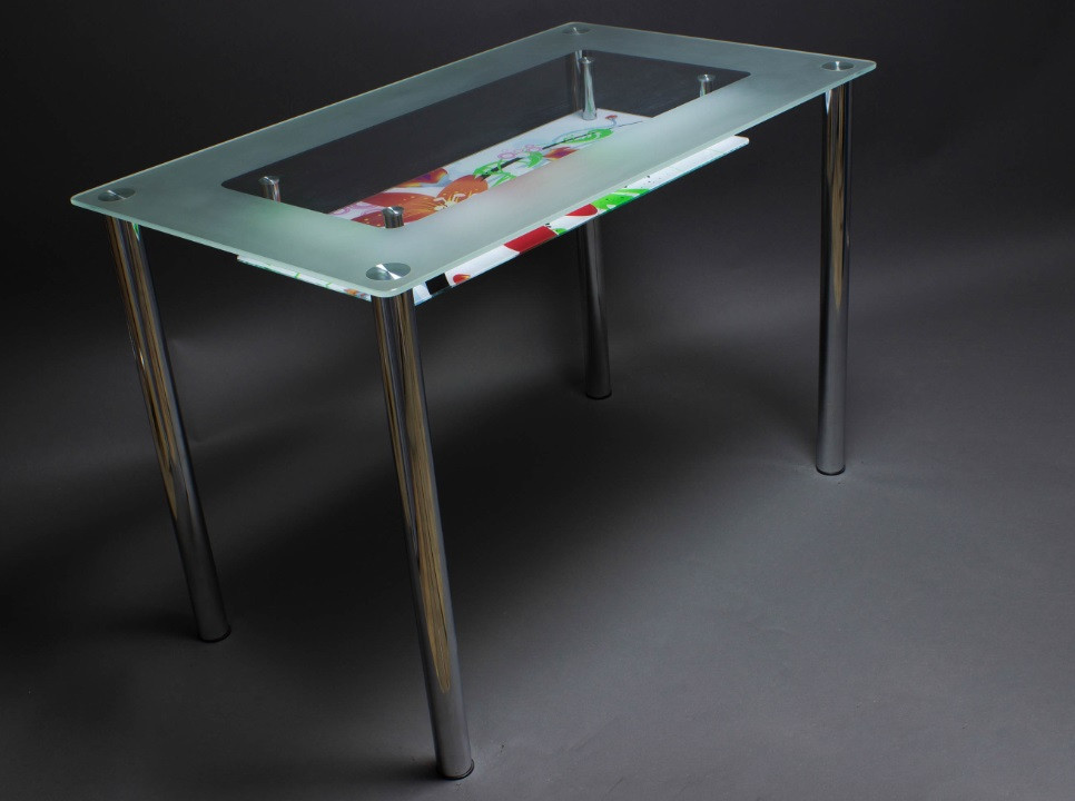 Стол кухонный стеклянный МФ-1, ножки хром 91х61 *Эко (Бц-Стол ТМ)