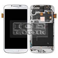 Дисплей для мобильного телефона Samsung I9500 Galaxy S4, белый, с сенсорным экраном, с передней пане
