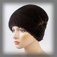 Женская норковая шапка на трикотажной ножке (коричневая)