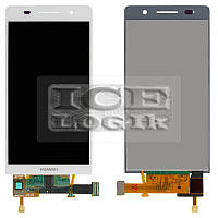Дисплей для мобильного телефона Huawei Ascend P6-U06, белый, с сенсорным экраном