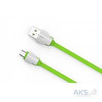 Кабель USB LDNio Micro USB flat 2.1A Green (LS04)