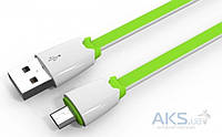 Кабель USB LDNio Micro USB flat 2.1A Green (LS03)