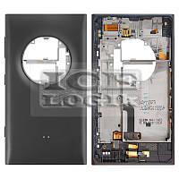 Задняя панель корпуса для мобильного телефона Nokia 1020 Lumia, черная, полная, с боковыми кнопками