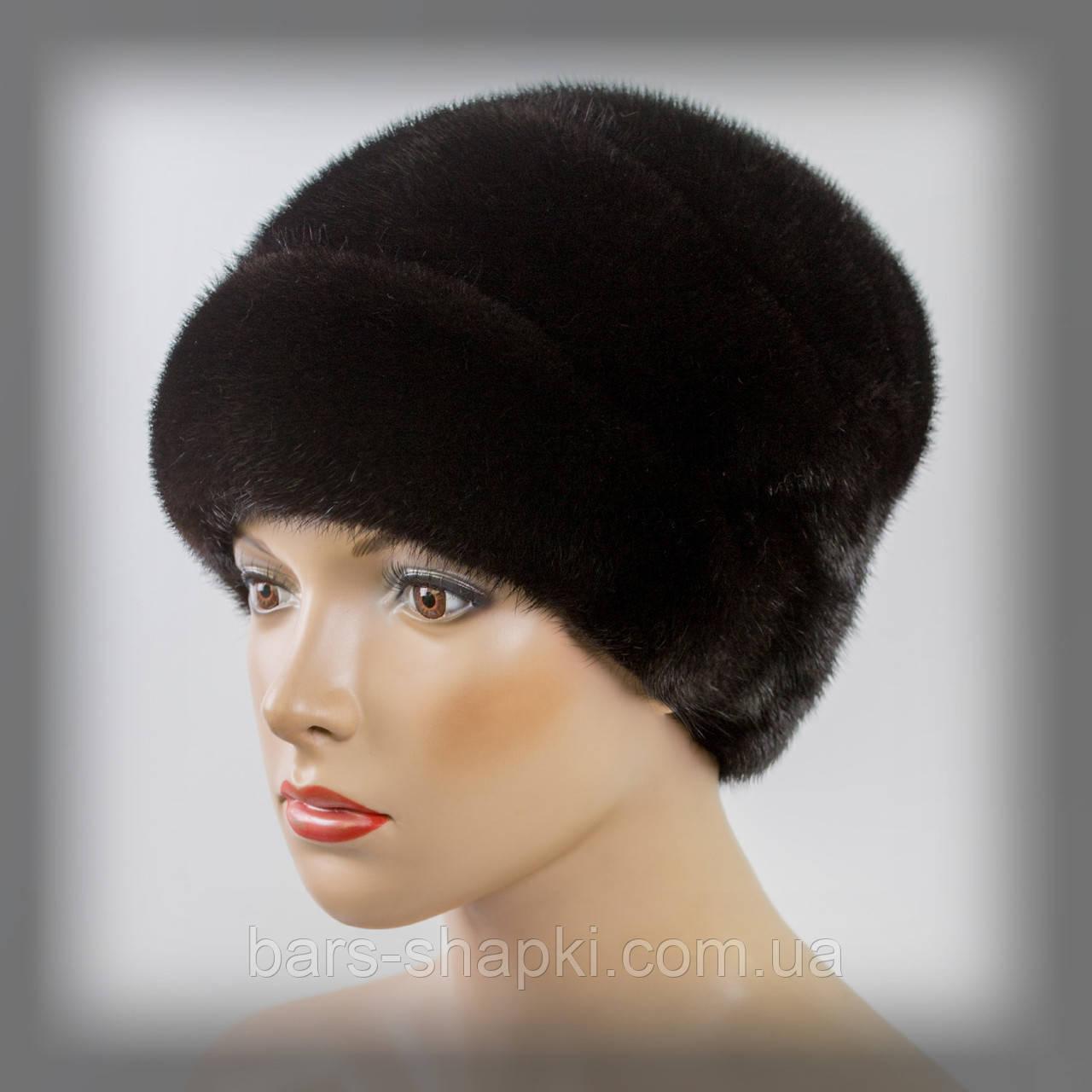 Меховая шапка из норки (тёмно-коричневая)
