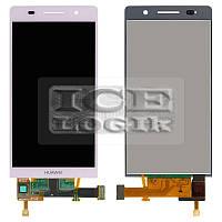 Дисплей для мобильного телефона Huawei Ascend P6-U06, розовый, с сенсорным экраном