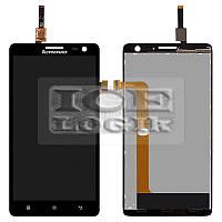 Дисплей для мобильного телефона Lenovo S856, черный, с сенсорным экраном