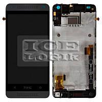 Дисплей для мобильного телефона HTC One mini 601n, черный, с передней панелью, с сенсорным экраном