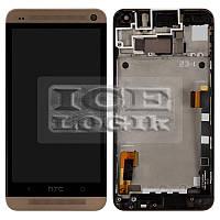 Дисплей для мобильного телефона HTC One M7 801e, золотистый, с передней панелью, с сенсорным экраном