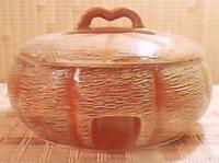 Жаровня глиняная с крышкой 2,5 л. (соломка) арбуз низкий.