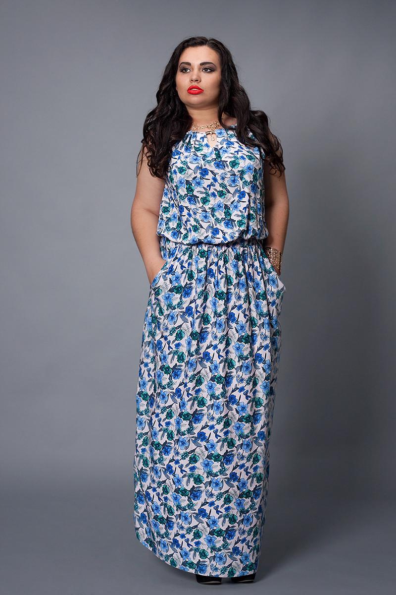 Платье мод №497-4, размер 48-50 синие цветы
